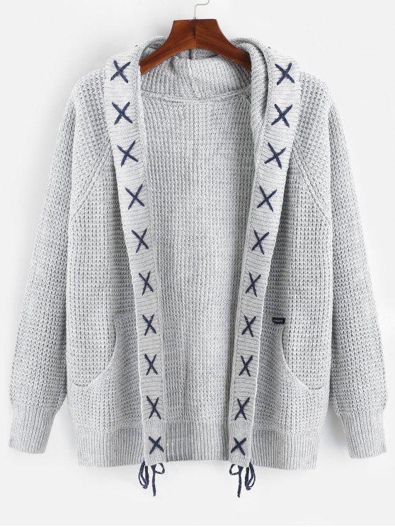 Strip Bandage Criss Cross Cardigan - رمادي فاتح XL