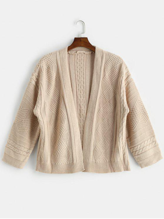 fancy Loose Fitting Solid Color Cardigan - BURLYWOOD