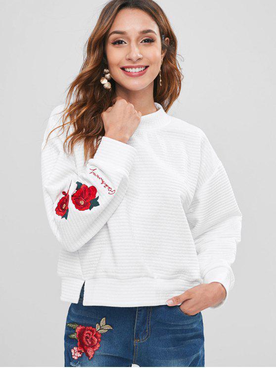 lady Flower Embroidery Split Hem Sweatshirt - WHITE M