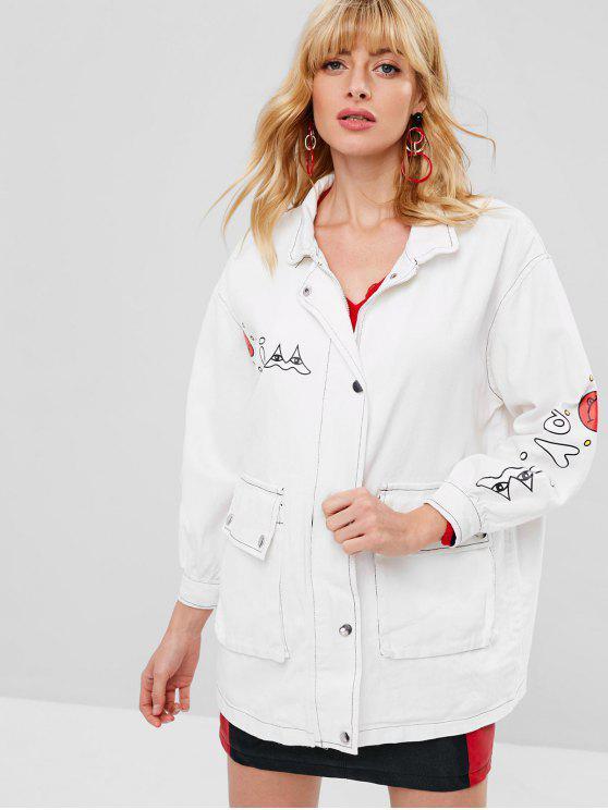 women's Emoji Print Graphic Oversized Denim Jacket - WHITE M