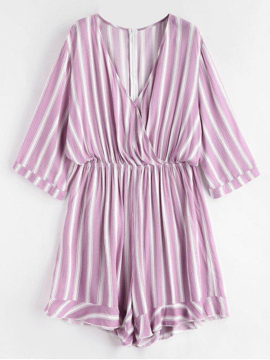 outfit Plus Size Striped Romper - MAUVE 2X