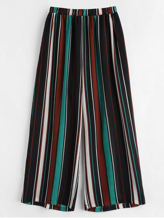 women Semi-sheer Striped Plus Size Pants - MULTI 2X