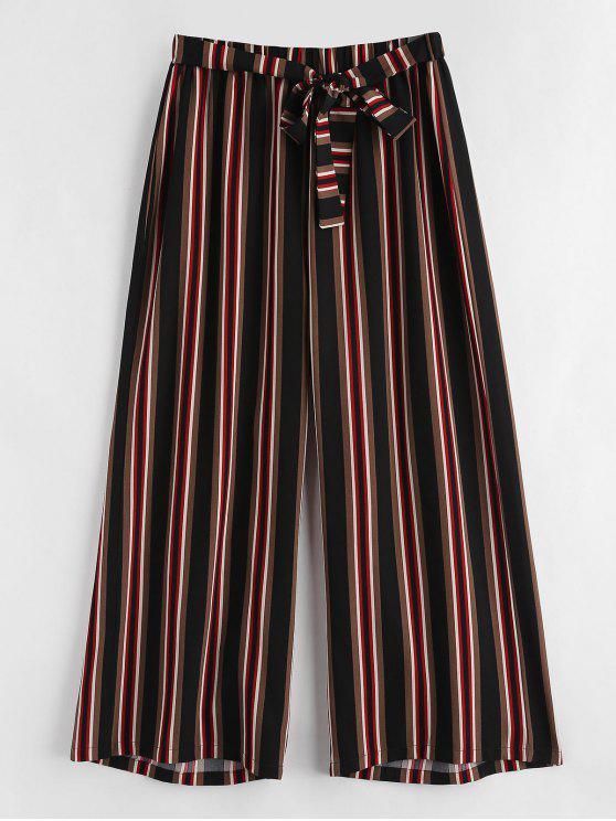 Pantalon Rayé de Grande Taille à Taille Nouée - Multi 4X