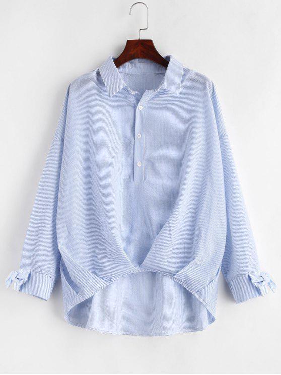 fashion Bowknot Striped High Low Blouse - MULTI XL
