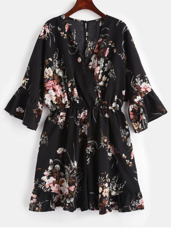 chic Ruffles Plus Size Floral Romper - NIGHT 1X