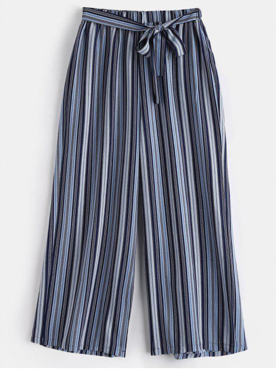 Pantalon Rayé à Jambe Large de Grande Taille - Multi 1X