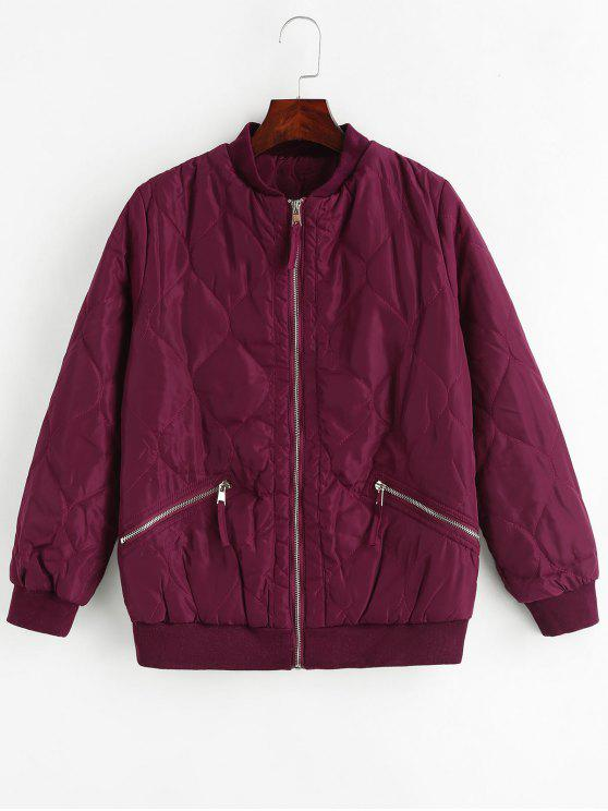 lady Slimming Zip Up Quilted Jacket - MAROON S