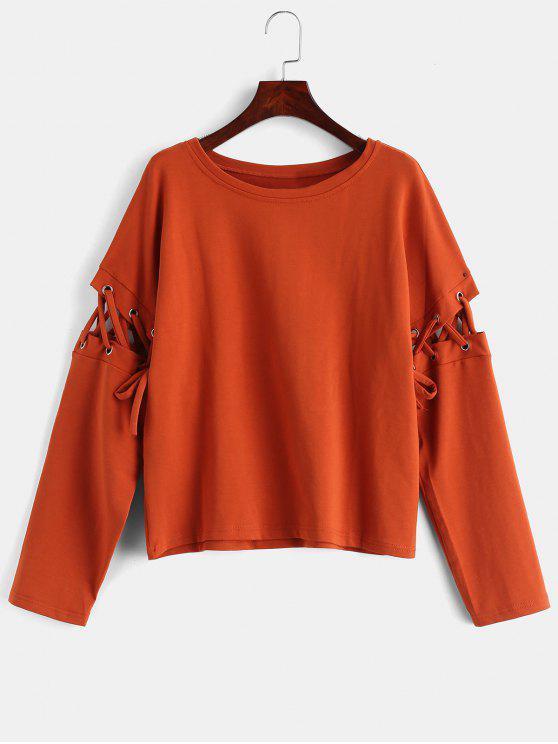 Sweat-shirt Manches avec œillets à Lacets - Orange Halloween L