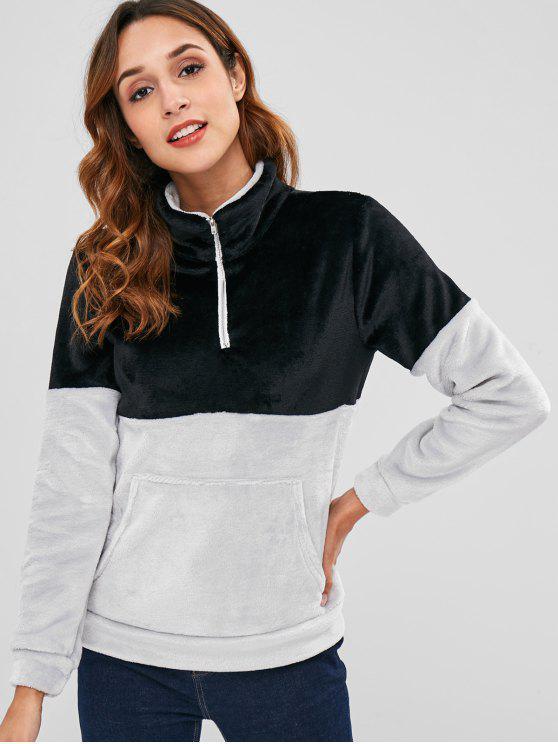 Meia zip dois tons de veludo suéter - Preto XL