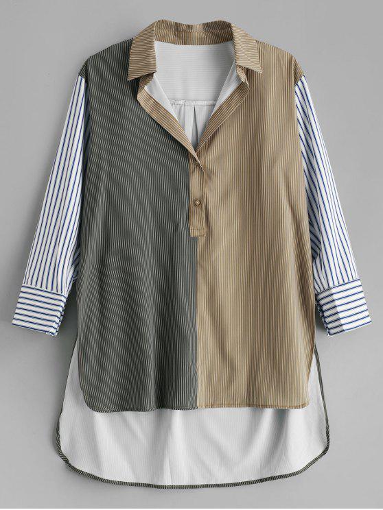Camisa larga extragrande a rayas patchwork - Multicolor L