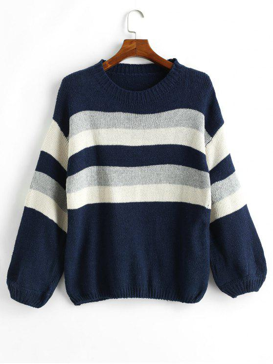 latest Color Block Striped Balloon Sleeve Sweater - MULTI-A ONE SIZE