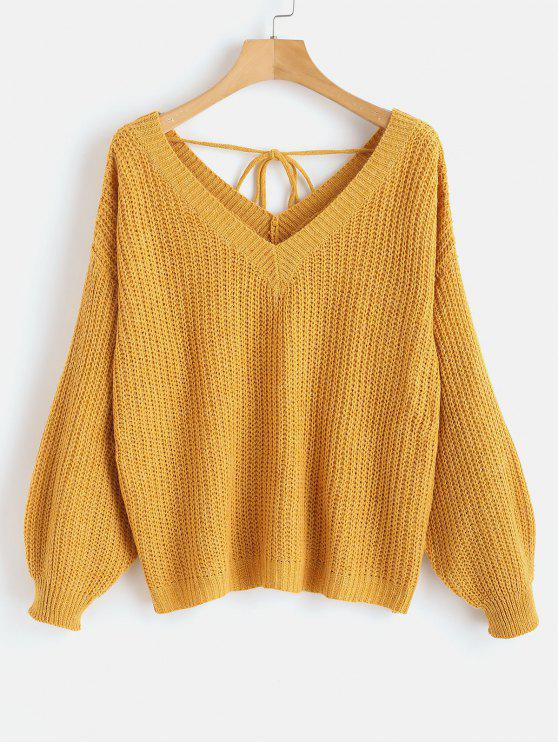 trendy Drop Shoulder V Neck Oversized Sweater - ORANGE GOLD S