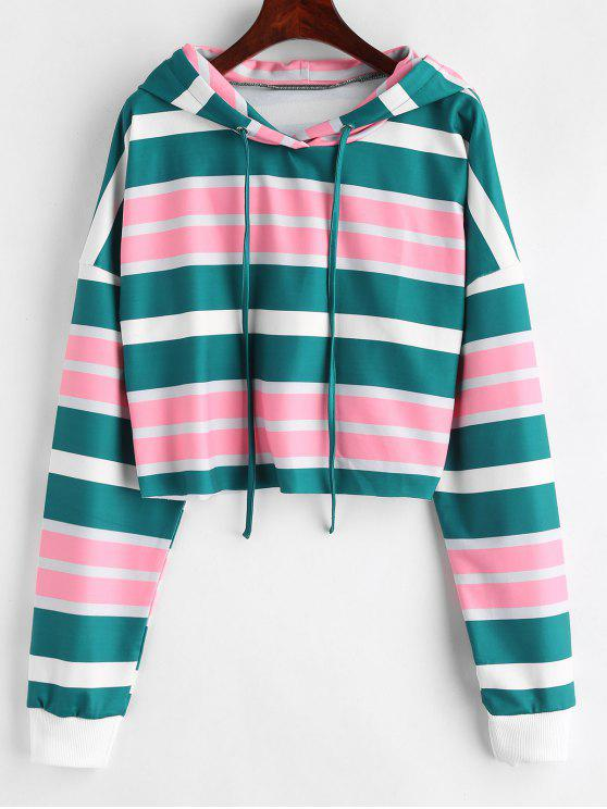 affordable ZAFUL Horizontal Striped Cropped Hoodie - MULTI M