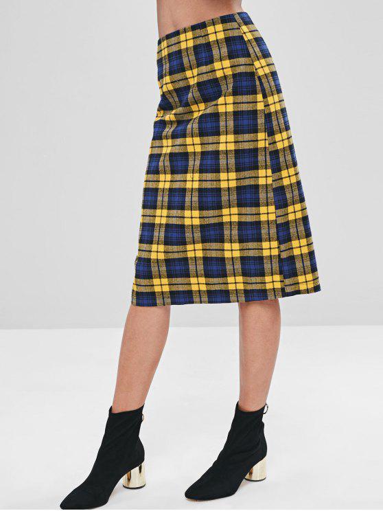 fashion ZAFUL Back Zipper Plaid Skirt - MULTI L