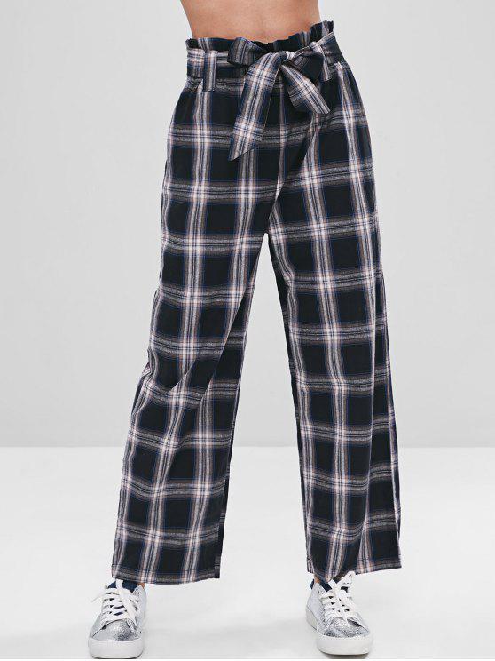 sale ZAFUL Belted Wide Leg Plaid Pants - BLACK M