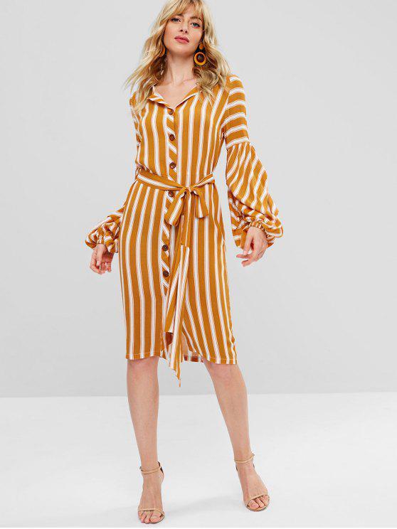 affordable ZAFUL Long Lantern Sleeve Striped Button Through Dress - ORANGE L