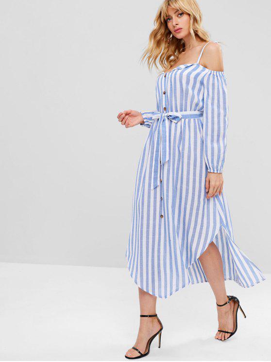 women ZAFUL Cold Shoulder Striped Midi Dress - SKY BLUE L