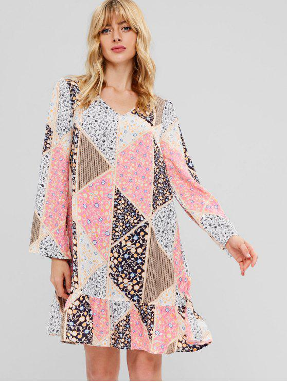 latest ZAFUL Long Sleeve Patchwork Print Swing Dress - MULTI M