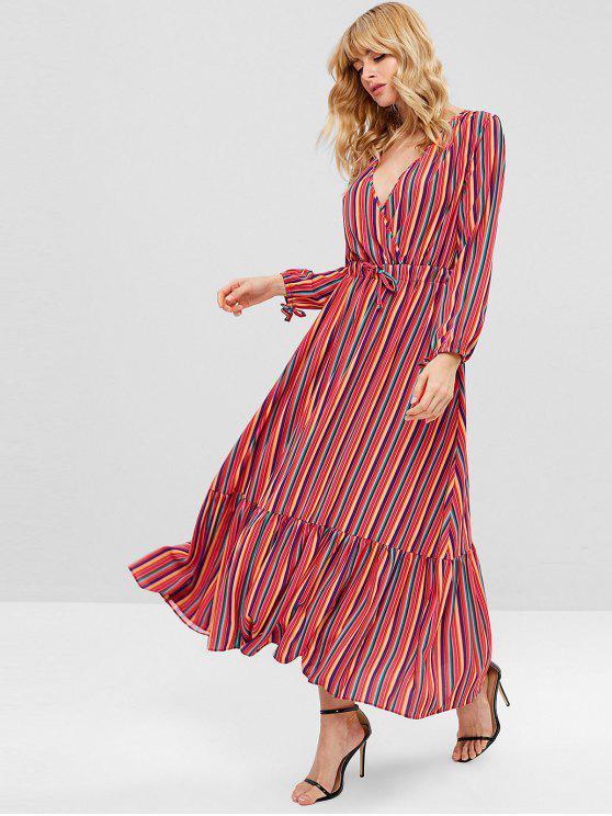 fashion ZAFUL Long Sleeve Striped Maxi Dress - MULTI L