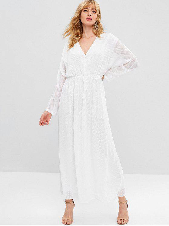 sale ZAFUL Long Sleeve Dotted Maxi Dress - WHITE L