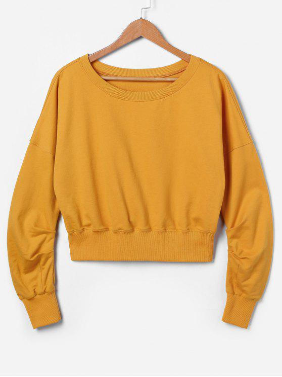 lady ZAFUL Drop Shoulder Sweatshirt - SCHOOL BUS YELLOW M