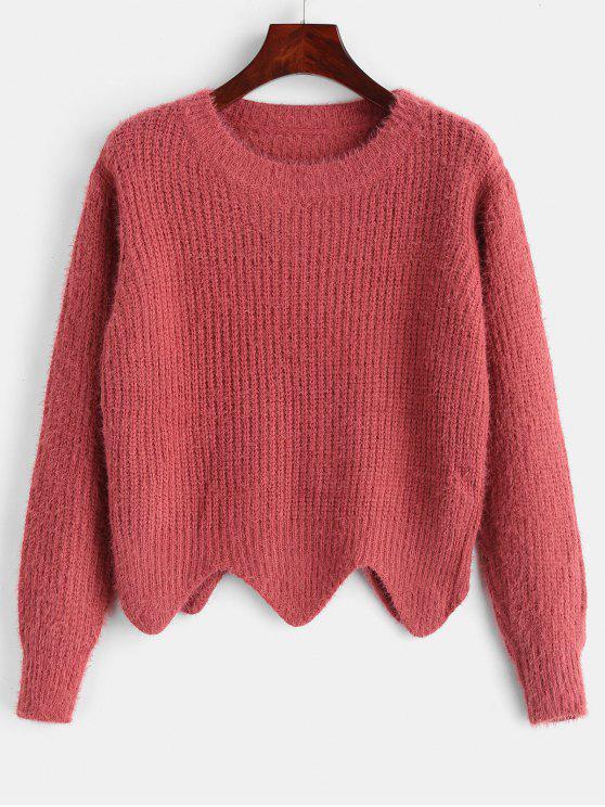 Asymmetrischer Saum Fuzzy Sweater - Kirschrot Eine Größe