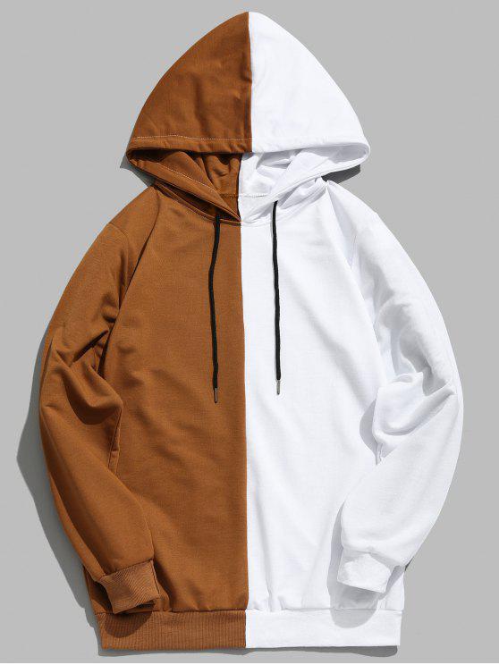 Kontrast-Patchwork-beiläufiger Hoodie - Khaki XL