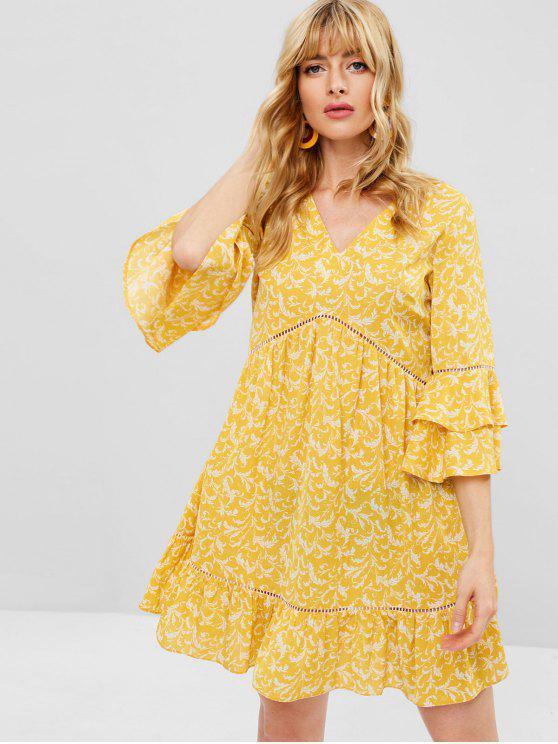buy ZAFUL Ruffle Sleeve Crochet Insert Smock Dress - MUSTARD M