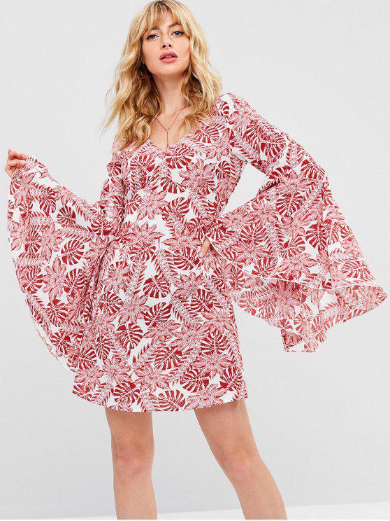 ladies ZAFUL Tropical Print Bell Sleeve Dress - RED L