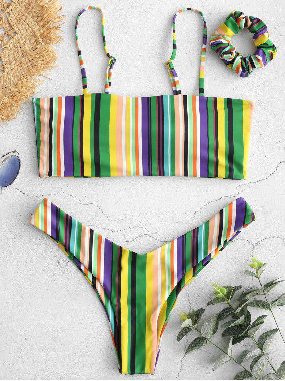 chic ZAFUL Colorful Striped Cami Bikini with Headband - MULTI-A M