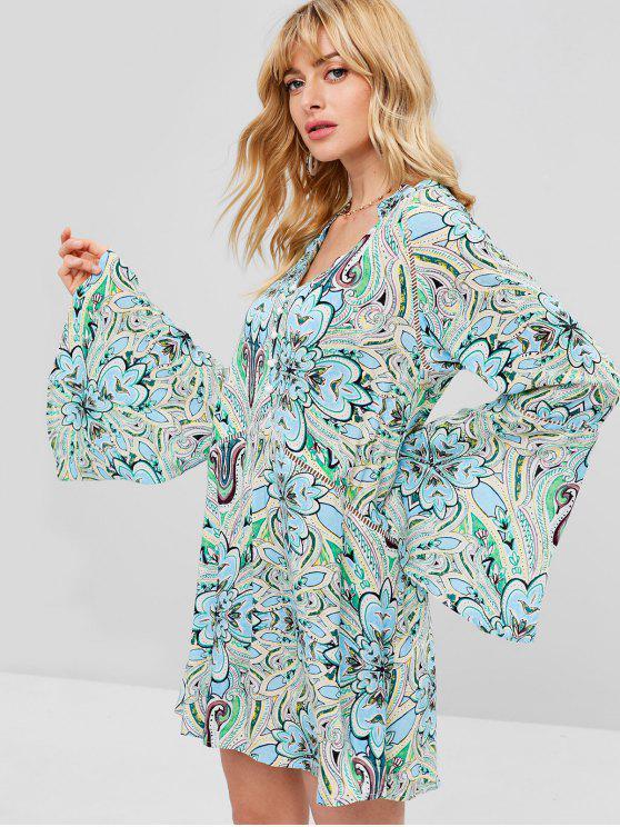 new ZAFUL Printed Bell Sleeve Smock Dress - MULTI M