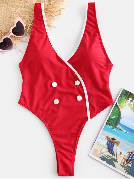 Costume Da Bagno A Scollo Profondo Con Bottoni Senza Schienale Di ZAFUL - Rosso L