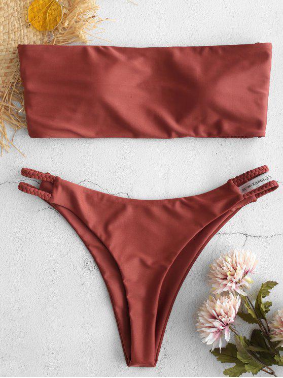 trendy ZAFUL Braided Strappy Bikini Set - ROSY FINCH S