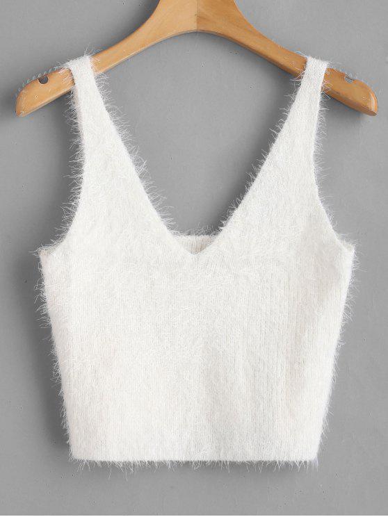 fancy Vest Textured V Neck Sweater - WHITE L