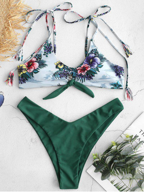 Bikini Stampato A Fiori Con Spalline Annodate Di ZAFUL - Verde Foresta Medio L