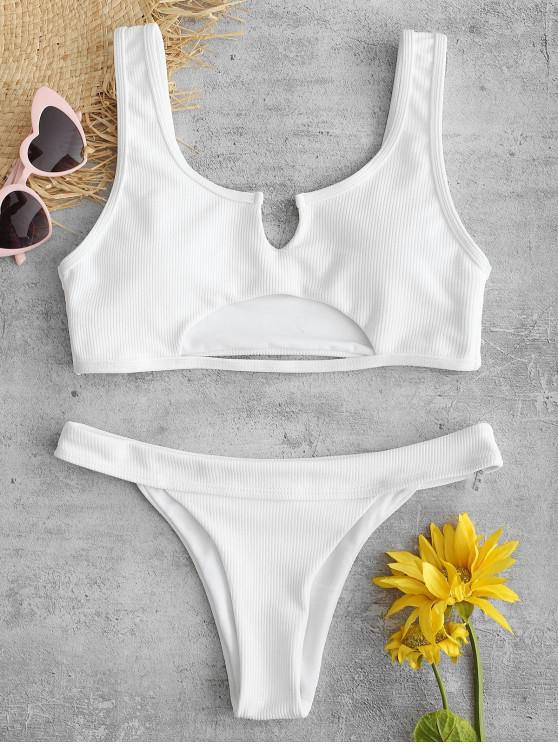 chic ZAFUL Ribbed Cutout Bikini Set - WHITE S