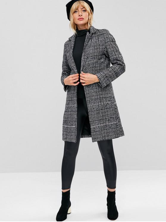 women Houndstooth Tweed Winter Coat - MULTI L