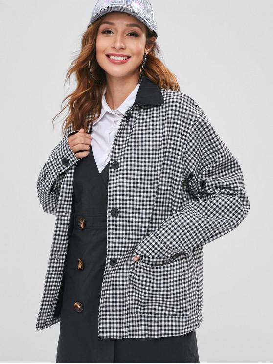 fashion Gingham Oversized Jacket - MULTI ONE SIZE