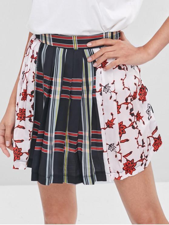 latest Pleated Striped Flower Mini Skirt - MULTI S