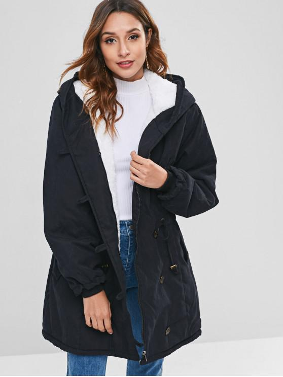 unique Faux Fur Lined Winter Parka Coat - BLACK 2XL