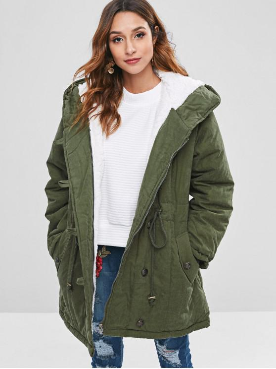 affordable Faux Fur Lined Winter Parka Coat - CAMOUFLAGE GREEN 2XL