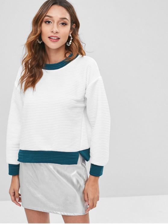 Sweat-shirt en Blocs de Couleurs à Ourlet Fendu - Blanc S