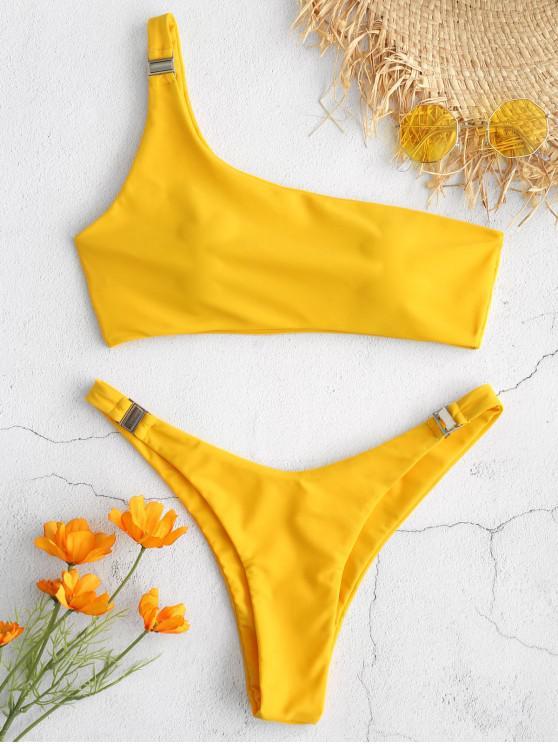 sale ZAFUL One Shoulder Bikini Set - RUBBER DUCKY YELLOW S