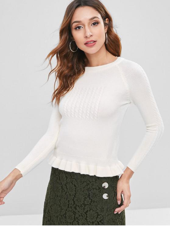 Suéter de volantes de punto de cable - Blanco Cálido Talla única