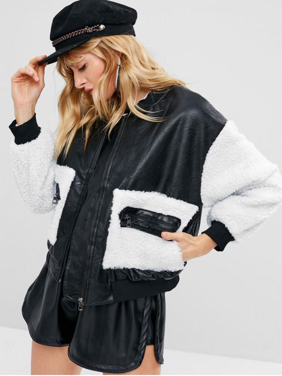 hot Faux Leather Fluffy Pocket Jacket - BLACK ONE SIZE