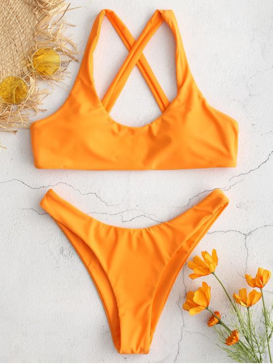 Conjunto de Bikini de Criss Cross  ZAFUL - Naranja Oscuro L