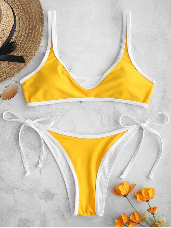Conjunto de Bikini de Cadena de Contraste ZAFUL - Amarillo de Sol  M