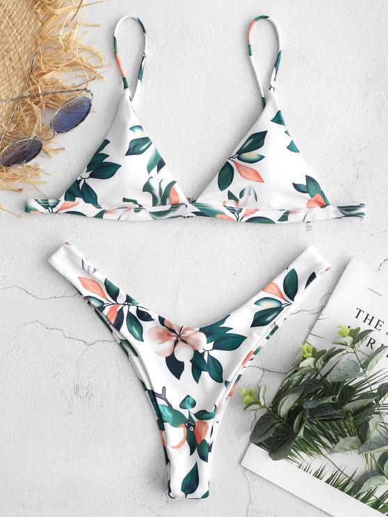best ZAFUL Leaf Print High Leg Bikini Set - WHITE S