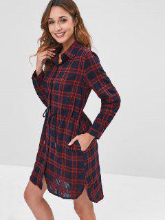 Long Sleeve Checked Drawstring Shirt Dress - Multi