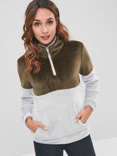 Half Zip Two Tone Velvet Sweatshirt - Coffee M